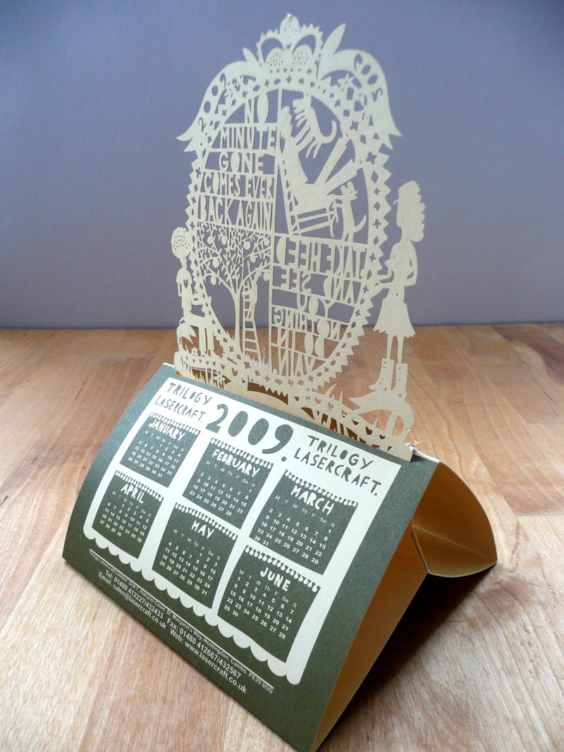 Laser cut calendar designed by Rob Ryan