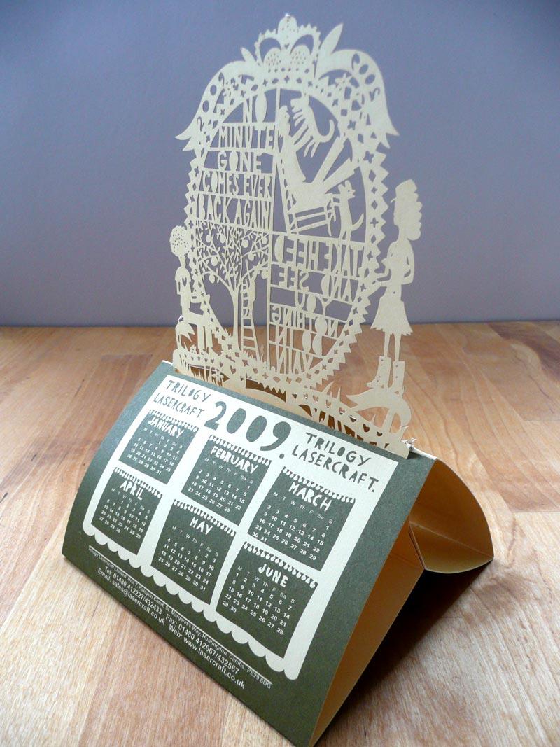Laser cut calendar designed by Rob Ryan