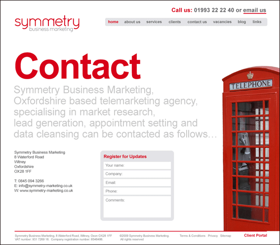 Symmetry Business Marketing Contact