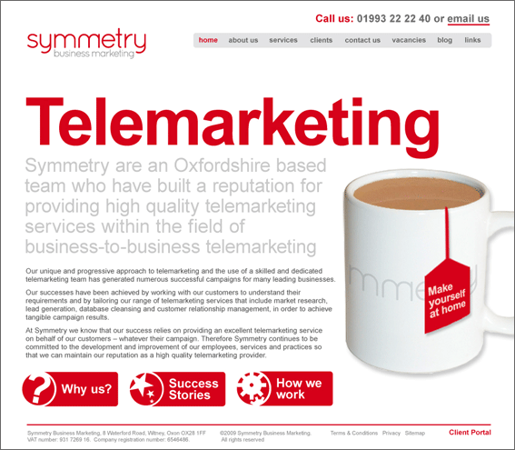 Symmetry Business Marketing Home page