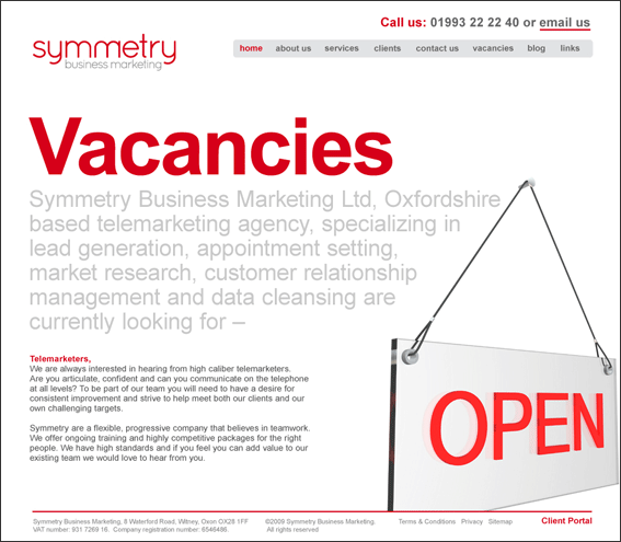 Symmetry Business Marketing Vacancies