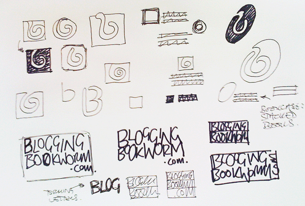 Logo design process sketches