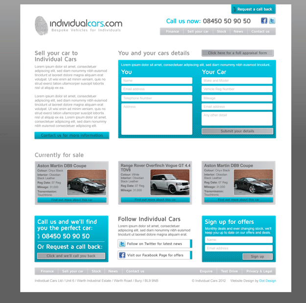 Sell your car page design