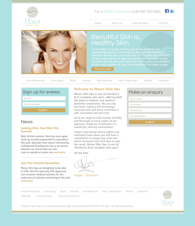 Manor Skin Spa Website Design